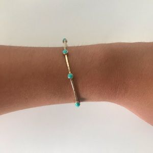 Gold & Turquoise Bangle Bracelet